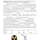 Cloze Worksheet - Forms of Energy and Transformations (5 - 9)