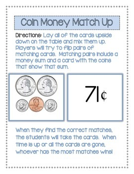 Coin Money Match Up Freebie