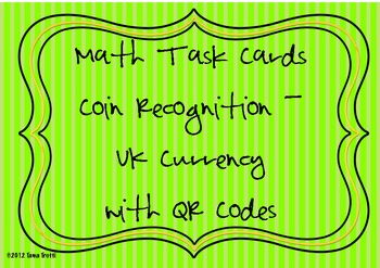Coin Recognition Task Cards - UK curriculum