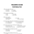 Cold Sassy Tree 50 Question Multiple Choice Test