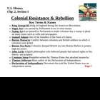 Colonial Resistance & Rebellion-Chp. 2, Sec. 1