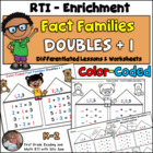 Color Coded Fact Families Doubles + 1 Common Core Math Dif