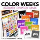 Color Weeks Calendar Reminder Cards for Color Word Study