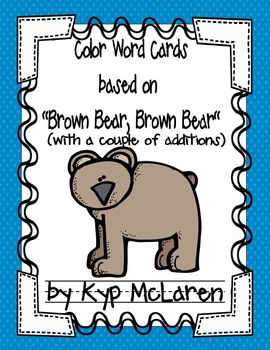 "Color Word Cards (based on ""Brown Bear, Brown Bear"")"