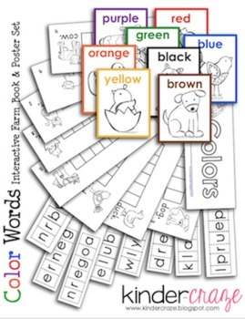 Color Word Farm Book and Poster Set - Unscramble Color Words