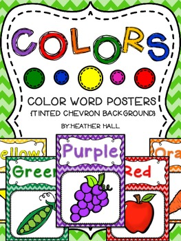 Color Word Posters - Tinted Chevron Background