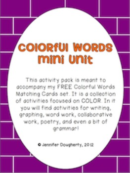Color Words Literacy and Math Mini Unit
