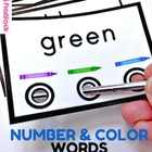 Color and Number Words Bull's Eye Poke Game