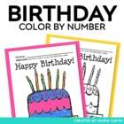 Color by Number Birthday Cake