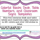 Colorful Blocks Theme Desk/Table Numbers and Blank Label T