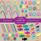 Colorful Candy Clip Art Set with Lollipops, Gumdrops, Cand