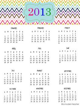 Colorful Chevron 2013 Calendar Freebie {one-pager}