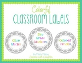 Colorful Classroom Organization Labels