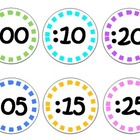 Colorful Clock Labels- white background