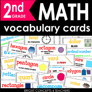 Colorful Common Core Math Vocabulary Cards-2nd Grade