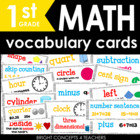 Colorful Common Core Math Vocabulary Cards-First Grade