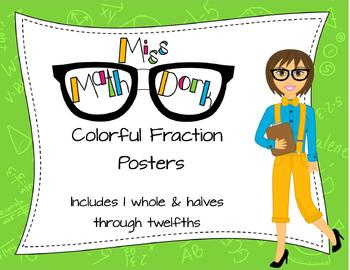 Colorful Fraction Identification Posters (through the 12ths)