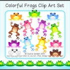 Colorful Frogs Clip Art Set