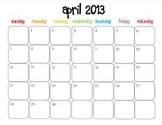 Colorful Modern Calendar for April 2013--Publisher Doc