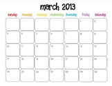 Colorful Modern Calendar for March 2013--Publisher Doc