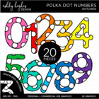 Colorful Polka Dot Numbers {Graphics for Commercial Use}