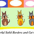 Colorful, Solid Borders and Cartoon Cat Clip Art freebie set