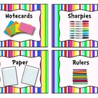 Colorful Stripe Classroom Supply Bin Labels