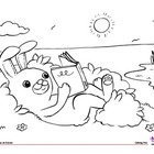 Coloring Page: Actions: Reading Rabbit