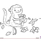 Coloring Page: Jungle Animals: Monkey & Bananas