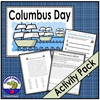 Columbus Day Word Search, Poem, and Fill-in Activities