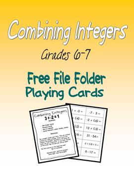 Combining Integers FREE file folder playing cards