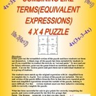 Combining Like Terms (Equiv. Expressions) 4x4 Math Puzzle 