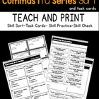 Commas Sorting Activity Pack