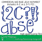 Commercial Use Blue Jelly Alpha (Letters & Numbers)