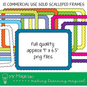 Commercial Use Scalloped Solid Color Frames