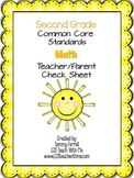Common Core-2nd Grade Teacher/Parent Check Sheet
