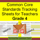 Common Core 4th Grade Math Tracking Sheets by Domain/Clust