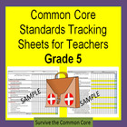 Common Core 5th Grade Math Tracking Sheets by Domain/Clust