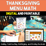 Thanksgiving Menu Math - 5th and 6th