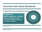 Common Core Aligned IEP Goal and Objective Bank High Schoo