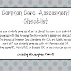Common Core Assessment Checklist for Kindergarten