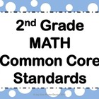 "Common Core CCSS ""I Can"" Math Posters - 2nd Grade"