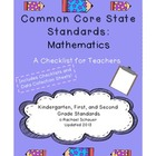 Common Core Checklist for Teachers: K-2 Math