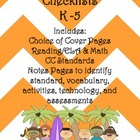 Common Core Checklists K-5 - Beautiful Orange Chevron