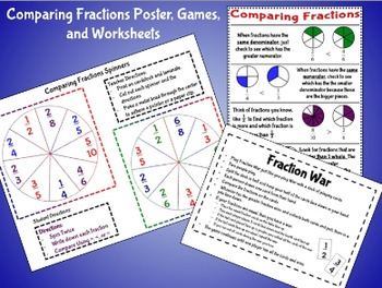 Common Core Comparing Fractions Anchor Chart, Games, Works