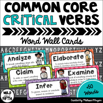Common Core Critical Verbs Vocabulary Word Wall Cards
