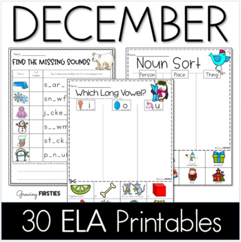 Common Core Crunch - December - ELA CCSS Printables - Growing Firsties