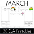 Common Core Crunch - March - ELA CCSS Printables