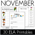 Common Core Crunch - November - ELA CCSS Printables - Grow