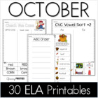 Common Core Crunch - October - ELA CCSS Printables - Growi